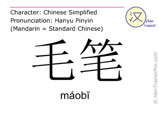 Chinesische Schriftzeichen  ( maobi / máobĭ ) mit Aussprache (Deutsche Bedeutung: Pinsel )