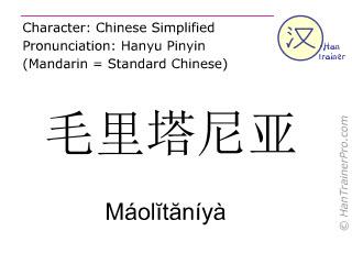 Caracteres chinos  ( Maolitaniya / Máolĭtăníyà ) con pronunciación (traducción española: Mauritania )