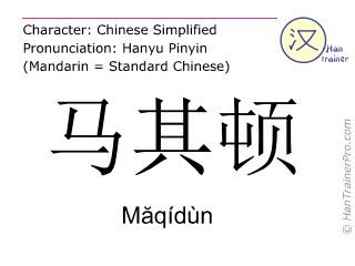 Caracteres chinos  ( Maqidun / Măqídùn ) con pronunciación (traducción española: (República de) Macedonia )