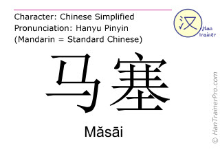 Chinesische Schriftzeichen  ( Masai / Măsāi ) mit Aussprache (Deutsche Bedeutung: Marseille )