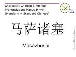 Caracteres chinos  ( Masazhusai / Măsàzhūsài ) con pronunciación (traducción española: Massachusetts )