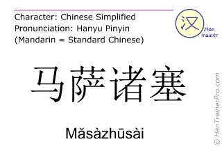 Chinese characters  ( Masazhusai / Măsàzhūsài ) with pronunciation (English translation: Massachusetts )