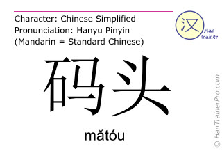 Chinese characters  ( matou / mătóu ) with pronunciation (English translation: dock )