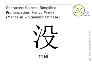 Chinese characters  ( mei / méi ) with pronunciation (English translation: no )