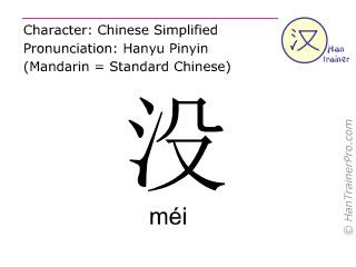 Caractère chinois  ( mei / méi ) avec prononciation (traduction française: (ne) pas (avoir) )