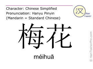 Chinese characters  ( meihua / méihuā ) with pronunciation (English translation: plum blossom )
