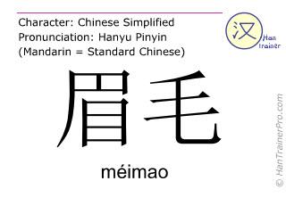 Chinese characters  ( meimao / méimao ) with pronunciation (English translation: eyebrow )
