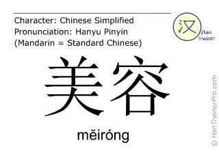 汉字  ( meirong / mĕiróng ) 包括发音 (英文翻译: beauty )