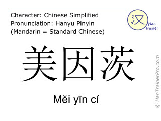 Chinese characters  ( Mei yin ci / M&#277i y&#299n cí ) with pronunciation (English translation: Mainz )