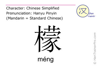 Chinese characters  ( meng / méng ) with pronunciation (English translation: lemon )