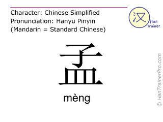 Chinese characters  ( meng / mèng ) with pronunciation (English translation: Meng )