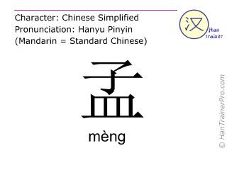 Chinesische Schriftzeichen  ( meng / mèng ) mit Aussprache (Deutsche Bedeutung: Meng )