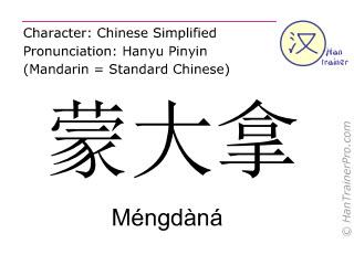 Chinesische Schriftzeichen  ( Mengdana / Méngdàná ) mit Aussprache (Deutsche Bedeutung: Montana )