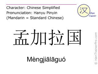 Caractère chinois  ( Mengjialaguo / Mèngjiālāguó ) avec prononciation (traduction française: Bangladesh )