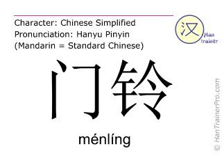 Caracteres chinos  ( menling / ménlíng ) con pronunciación (traducción española: timbre de la puerta )