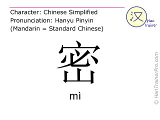 Chinese characters  ( mi / m&igrave; ) with pronunciation (English translation: <m>close</m> )