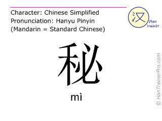 Chinese characters  ( mi / mì ) with pronunciation (English translation: secret )