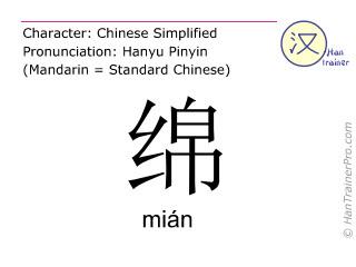 Chinesische Schriftzeichen  ( mian / mián ) mit Aussprache (Deutsche Bedeutung: Seidenwatte )