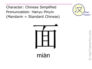 Chinese characters  ( mian / miàn ) with pronunciation (English translation: face )