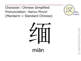 汉字  ( mian / miăn ) 包括发音 (英文翻译: <m>remote</m> )