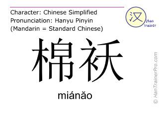 Caractère chinois  ( mianao / miánăo ) avec prononciation (traduction française: veste matelassée en coton )