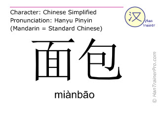 Chinese characters  ( mianbao / miànb&#257o ) with pronunciation (English translation: bread )