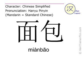 Caractère chinois  ( mianbao / miànbāo ) avec prononciation (traduction française: pain )