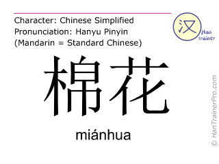 Chinese characters  ( mianhua / miánhua ) with pronunciation (English translation: cotton )