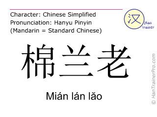 Chinese characters  ( Mian lan lao / Mián lán l&#259o ) with pronunciation (English translation: Mindanao )