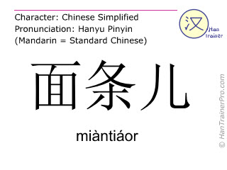 Chinesische Schriftzeichen  ( miantiaor / miàntiáor ) mit Aussprache (Deutsche Bedeutung: Nudel )