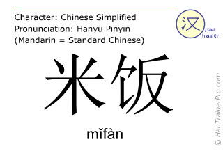 Chinese characters  ( mifan / m&#301fàn ) with pronunciation (English translation: rice )