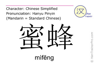Chinese characters  ( mifeng / mìfēng ) with pronunciation (English translation: bee )