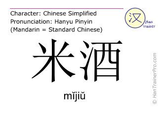 Chinesische Schriftzeichen  ( mijiu / mĭjiŭ ) mit Aussprache (Deutsche Bedeutung: Reiswein )