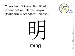 Chinese characters  ( ming / míng ) with pronunciation (English translation: bright )
