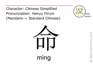 Chinese characters  ( ming / mìng ) with pronunciation (English translation: life )
