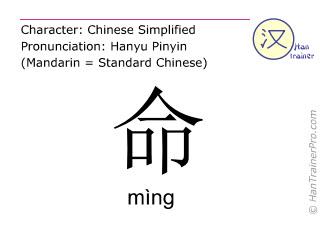 Caracteres chinos  ( ming / mìng ) con pronunciación (traducción española: vida )