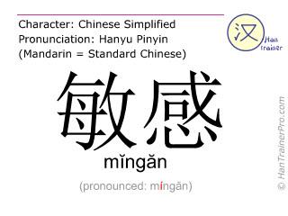 Chinese characters  ( mingan / m&#301ng&#259n ) with pronunciation (English translation: sensitive )