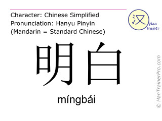 Chinese characters  ( mingbai / míngbái ) with pronunciation (English translation: clear )