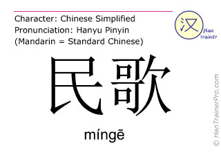 Chinese characters  ( minge / míng&#275 ) with pronunciation (English translation: folk song )