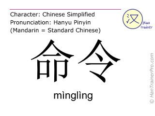 Chinese characters  ( mingling / mìnglìng ) with pronunciation (English translation: order )