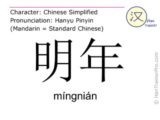 Chinesische Schriftzeichen  ( mingnian / míngnián ) mit Aussprache (Deutsche Bedeutung: nächstes Jahr )