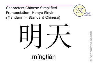 Chinese characters  ( mingtian / míngtiān ) with pronunciation (English translation: tomorrow )