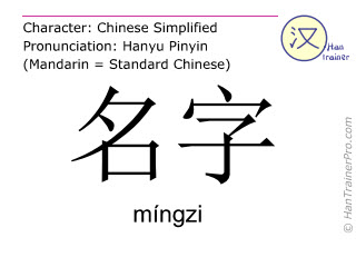Chinese characters  ( mingzi / míngzi ) with pronunciation (English translation: name )