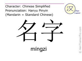 Caracteres chinos  ( mingzi / míngzi ) con pronunciación (traducción española: nombre )