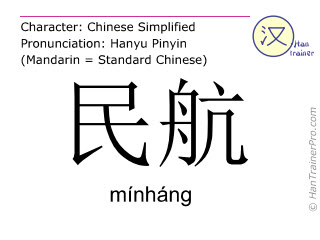 Chinesische Schriftzeichen  ( minhang / mínháng ) mit Aussprache (Deutsche Bedeutung: Zivilluftfahrt )
