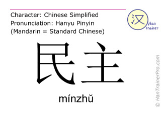 Chinese characters  ( minzhu / mínzh&#365 ) with pronunciation (English translation: democracy )
