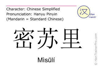 Chinese characters  ( Misuli / Mìsūlí ) with pronunciation (English translation: Missouri )