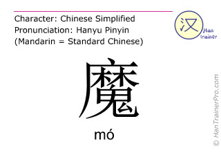 Chinese characters  ( mo / mó ) with pronunciation (English translation: devil )