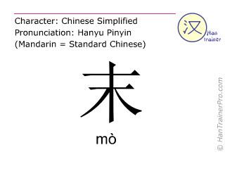 Caracteres chinos  ( mo / mò ) con pronunciación (traducción española: final )