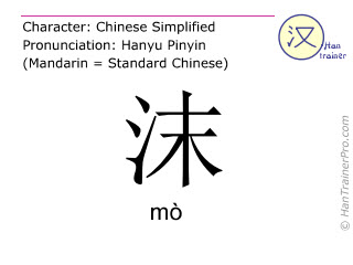 Chinese characters  ( mo / mò ) with pronunciation (English translation: froth )